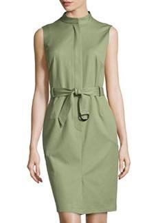 Lafayette 148 New York Sleeveless Belted Stretch-Twill Sheath Dress, Thyme