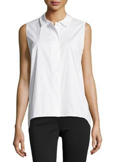 Lafayette 148 New York Sleeveless Button-Front Poplin Blouse, White