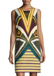 Lafayette 148 New York Sleeveless Geometric-Print Shift Dress