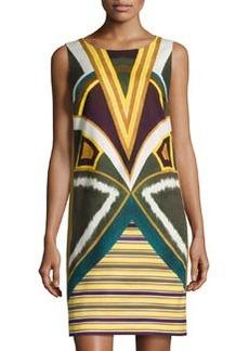 Lafayette 148 New York Sleeveless Geometric-Print Shift Dress, Ficus Multi