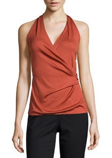 Lafayette 148 New York Sleeveless Halter-Neck Wrap Top, Chili Red