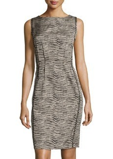 Lafayette 148 New York Sleeveless Jewel-Neck Sheath Dress, Black Multi
