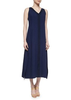 Lafayette 148 New York Sleeveless Linen Combo Midi Dress  Sleeveless Linen Combo Midi Dress
