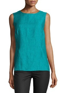 Lafayette 148 New York Sleeveless Linen Crewneck Top, Splash