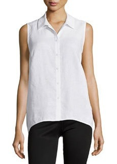 Lafayette 148 New York Sleeveless Linen High-Low Blouse, White