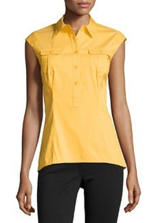 Lafayette 148 New York Sleeveless Poplin Button-Front Blouse, Turmeric