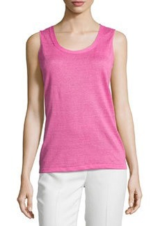 Lafayette 148 New York Sleeveless Scoop-Neck Shell, Dahlia