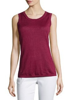 Lafayette 148 New York Sleeveless Scoop-Neck Tank, Pomegranate