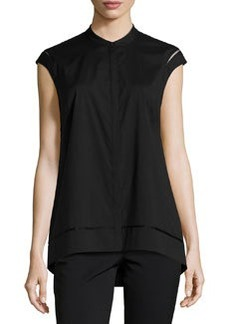 Lafayette 148 New York Sleeveless Sheer-Inset Blouse, Black