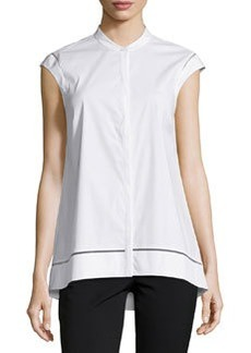 Lafayette 148 New York Sleeveless Sheer-Inset Blouse, White