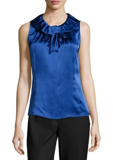 Lafayette 148 New York Sleeveless Silk Blouse w/ Detachable Bow