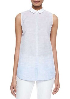 Lafayette 148 New York Sleeveless Striped A-line Shirt