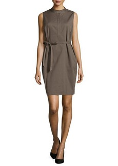 Lafayette 148 New York Sleeveless Tab-Collar Dress, Cremini