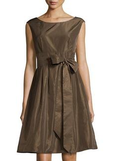 Lafayette 148 New York Sleeveless Tie-Waist Fit-and-Flare Dress