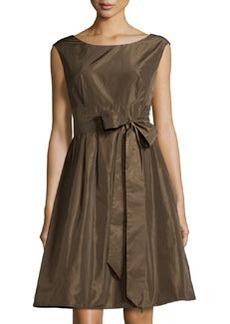 Lafayette 148 New York Sleeveless Tie-Waist Fit-and-Flare Dress, Brun