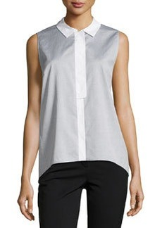 Lafayette 148 New York Sleeveless Two-Tone Blouse, Black Multi