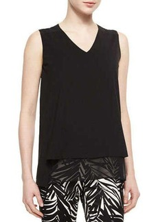 Lafayette 148 New York Sleeveless V-Neck Top with Georgette Trim  Sleeveless V-Neck Top with Georgette Trim