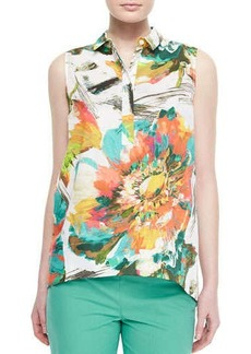 Lafayette 148 New York Sleeveless Vinda Garden Blouse