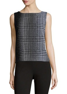 Lafayette 148 New York Sleeveless Wool-Blend Herringbone Shell