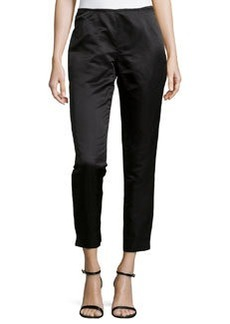 Lafayette 148 New York Slim-Fit Satin Pants, Black