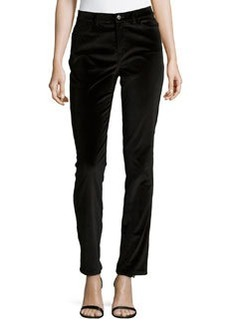 Lafayette 148 New York Slim-Fit Velveteen Pants, Black