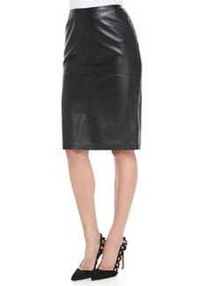 Lafayette 148 New York Slim Lambskin Leather Pencil Skirt
