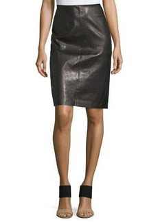 Lafayette 148 New York Slim Leather Midi Skirt