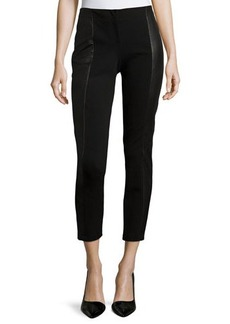Lafayette 148 New York Slim-Leg Pants W/Leather Panels