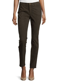 Lafayette 148 New York Slim-Leg Snake-Print Denim Pants