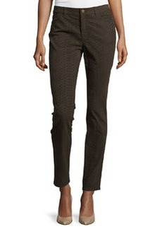 Lafayette 148 New York Slim-Leg Snake-Print Denim Pants, Coffee