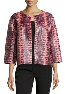 Lafayette 148 New York Snake-Embossed Open-Front Leather Jacket