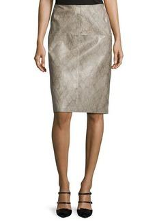 Lafayette 148 New York Snake-Print Leather Pencil Skirt