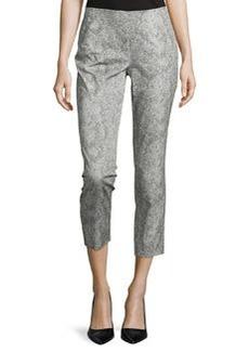 Lafayette 148 New York Snake-Print Slim-Fit Crop Pants, Vapor/Multi