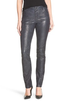 Lafayette 148 New York Snakeskin Embossed Curvy Fit Slim Leg Jeans
