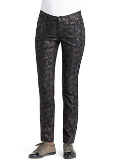 Lafayette 148 New York Snakeskin Jacquard Curvy Fit Slim Leg Jeans (Chestnut Multi)