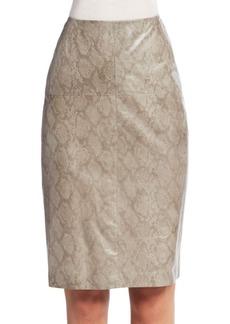 Lafayette 148 New York Snakeskin Print Leather Pencil Skirt