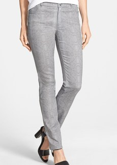 Lafayette 148 New York Snakeskin Print Slim Leg Jeans (Raindrop Multi)