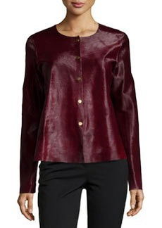 Lafayette 148 New York Snap-Front Leather Jacket
