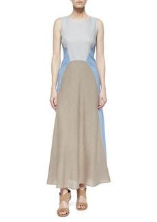 Lafayette 148 New York Solange Colorblock Linen Maxi Dress