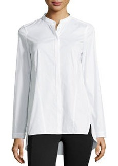 Lafayette 148 New York Split-Neck Button-Front Blouse, White