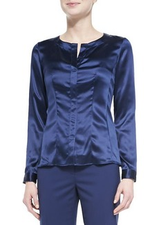 Lafayette 148 New York Split-Neck Silk Charmeuse Blouse