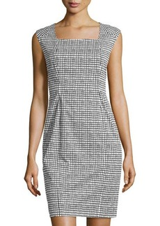 Lafayette 148 New York Square-Neck Cap-Sleeve Dress