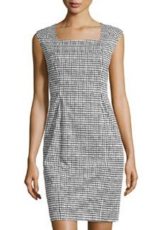 Lafayette 148 New York Square-Neck Cap-Sleeve Dress, Black Multi