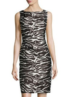 Lafayette 148 New York Square-Neck Sleeveless Dress, Black Multi
