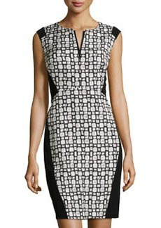 Lafayette 148 New York Square-Print V-Neck Dress, Black Multi