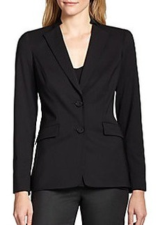 Lafayette 148 New York Stand-Collar Stretch-Wool Jacket