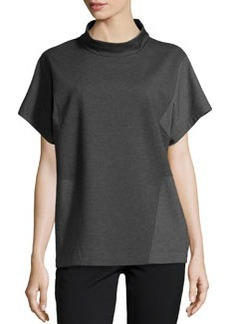 Lafayette 148 New York Stand-Collar Two-Tone Top, Smoke