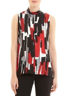 Lafayette 148 New York Stassi Sleeveless Brushstroke-Print Blouse