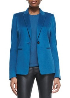 Lafayette 148 New York Stelly One-Button Blazer, Peacock