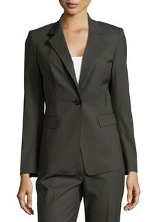 Lafayette 148 New York Stelly One-Button Jacket, Forest Melange